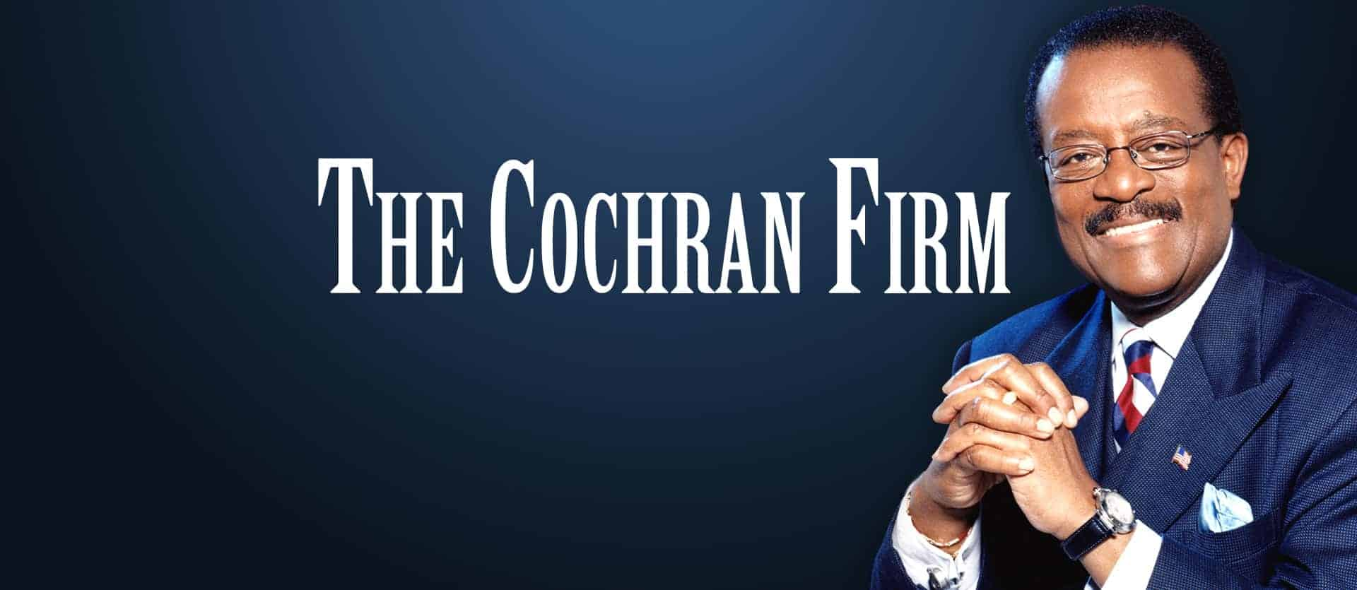 img- The Cochran Firm Logo with Image of Johnnie Cochran on Navy Gradient Background