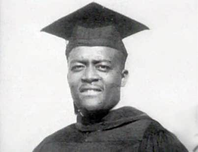 Johnnie Cochran in his College cap and gown